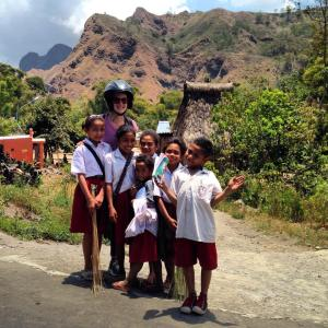 Aideen with School Kids, high in the mountains of Flores