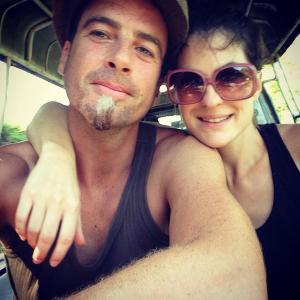 Very happy backpacking honeymooners